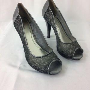 Style & co silver mesh open toe heels.size 7.5 M